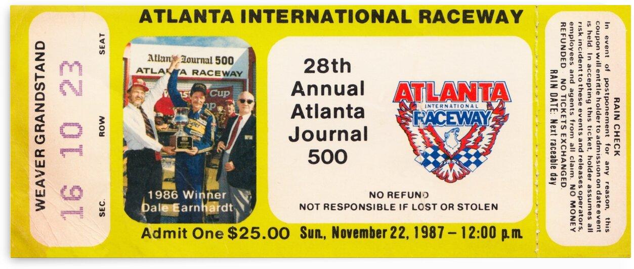 1987 Atlanta Journal 500 Auto Race Ticket Stub Canvas by Row One Brand