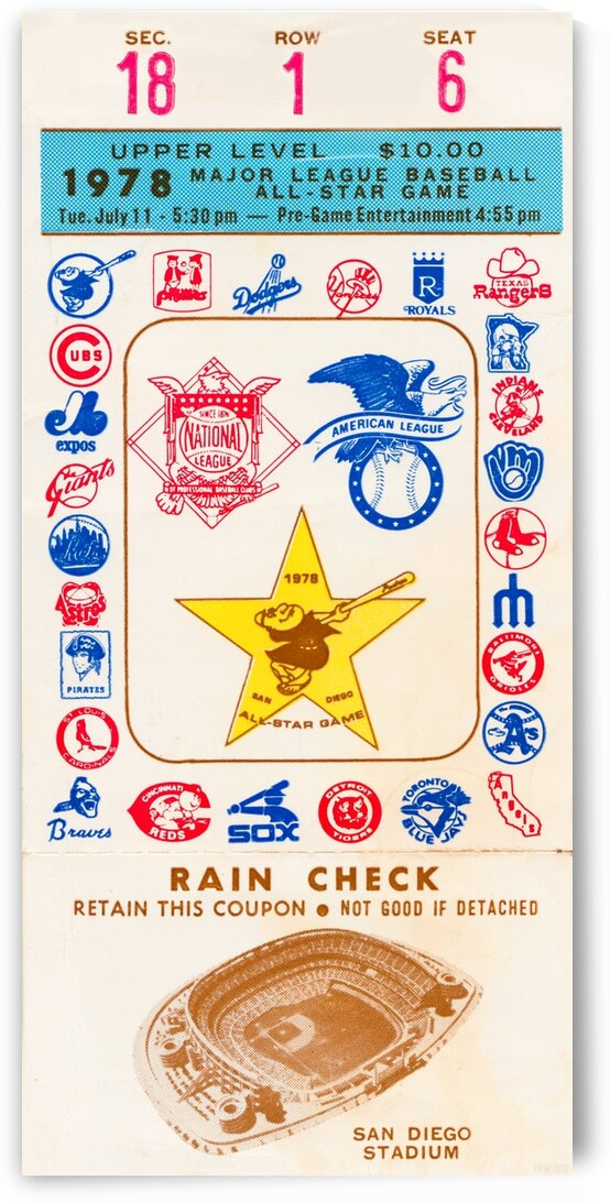 1978 San Diego Padres Baseball All-Star Ticket Canvas by Row One Brand