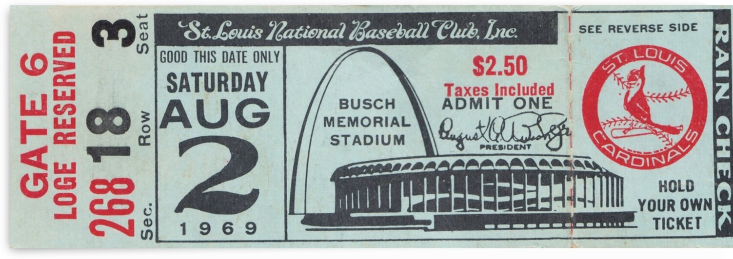 1969 St. Louis Cardinals Ticket Canvas by Row One Brand