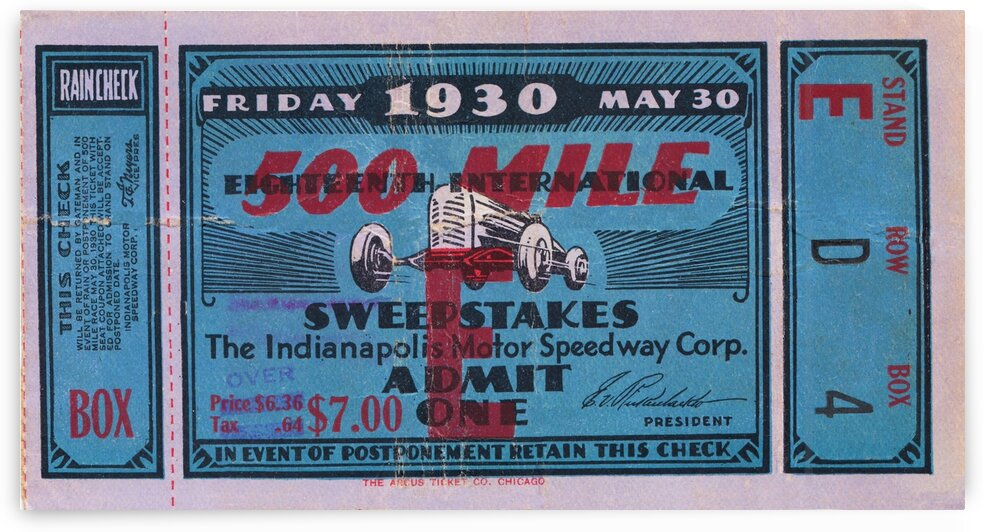 1930 Indy 500 Ticket Canvas by Row One Brand
