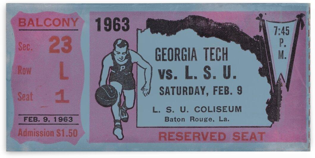 1963 LSU Tigers Basketball Ticket Art by Row One Brand