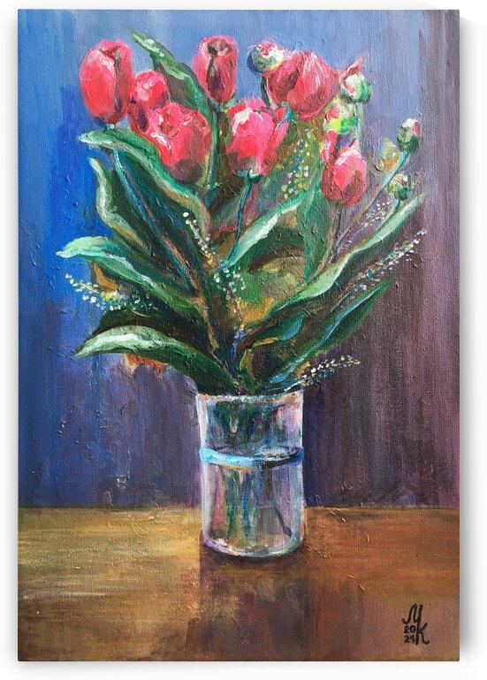 Impressionism fantasy bouquet of pink tulips by Marina Kaverinskih