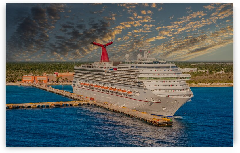 Cruise Ship at Remote Port at Dusk by Darryl Brooks