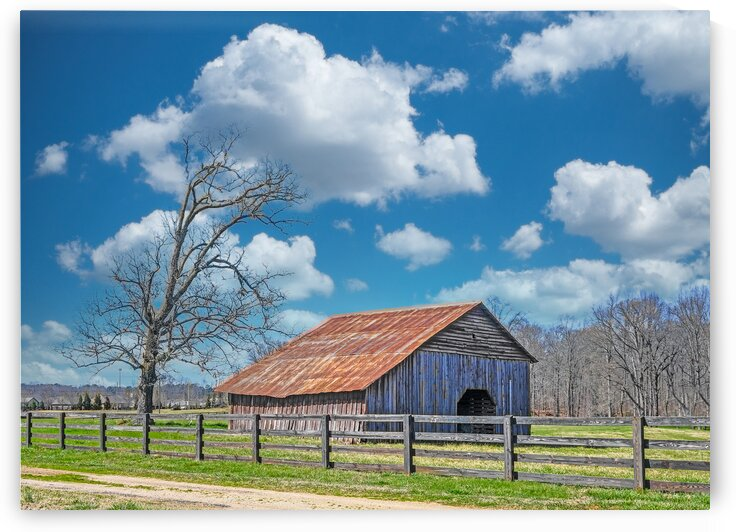 Old Barn Beyond Fence by Darryl Brooks