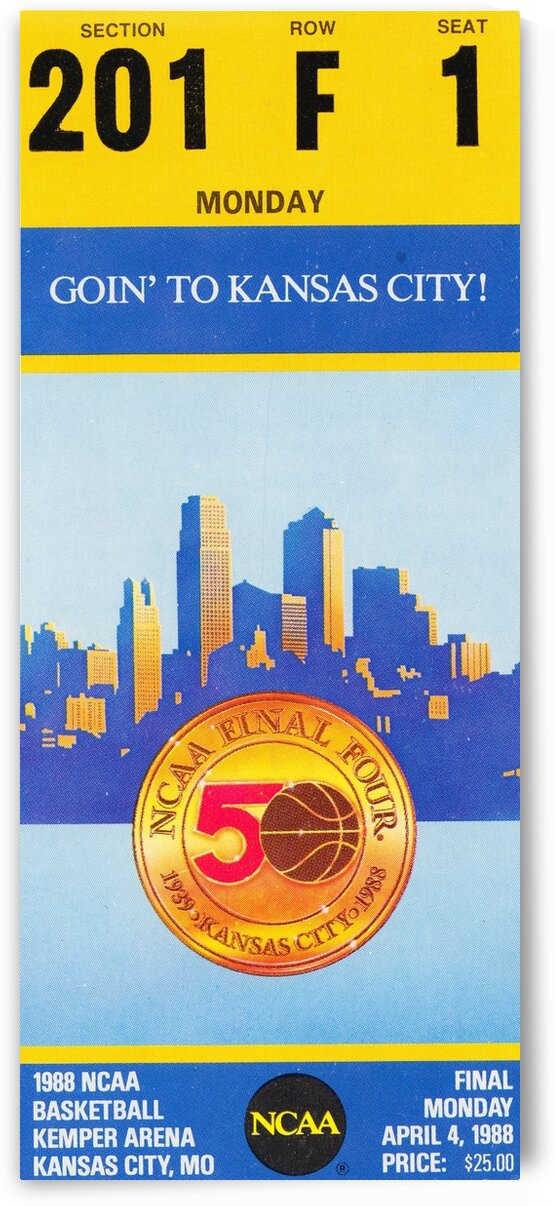1988 Kansas vs. Oklahoma NCAA Basketball Final Ticket Canvas by Row One Brand