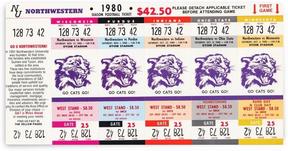 1980 Northwestern Wildcats Football Season Ticket Strip Canvas by Row One Brand