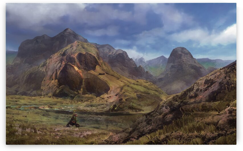 Landscape with giant skull by Michal Dunaj