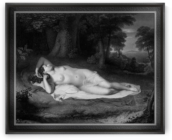Ariadne Engraving by Asher Brown Durand Classical Fine Art Old Masters Reproduction by xzendor7