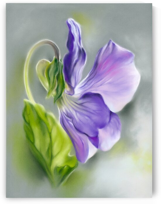 Light Purple Violet with Green Leaf by MM Anderson