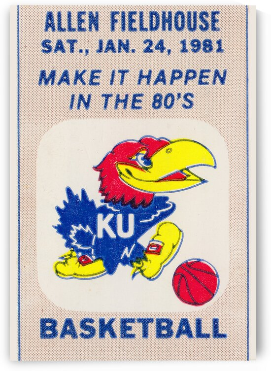 1981 Kansas Basketball Ticket Poster by Row One Brand
