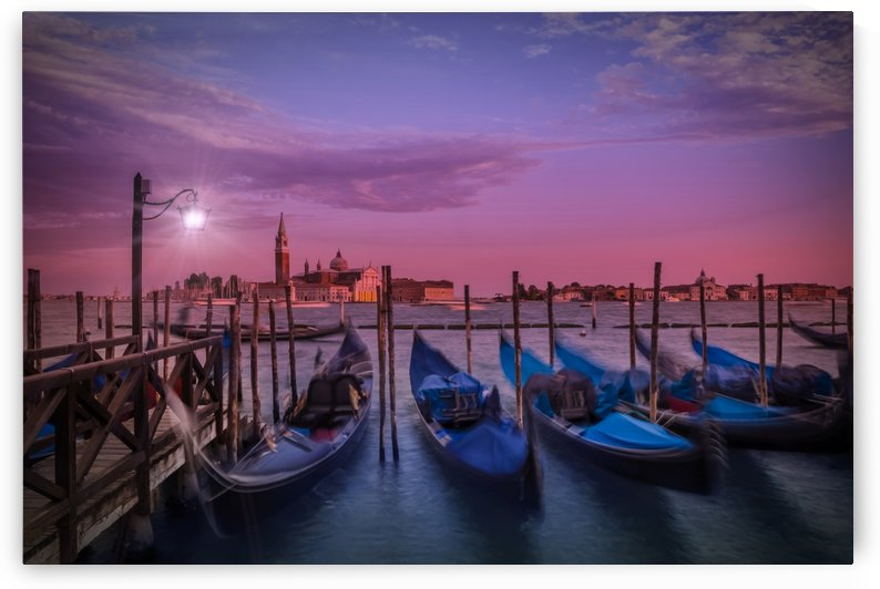 VENICE Gondolas at Sunset by Melanie Viola