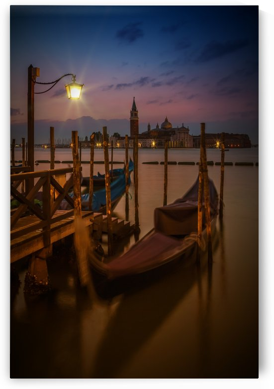 VENICE Gondolas during Blue Hour by Melanie Viola