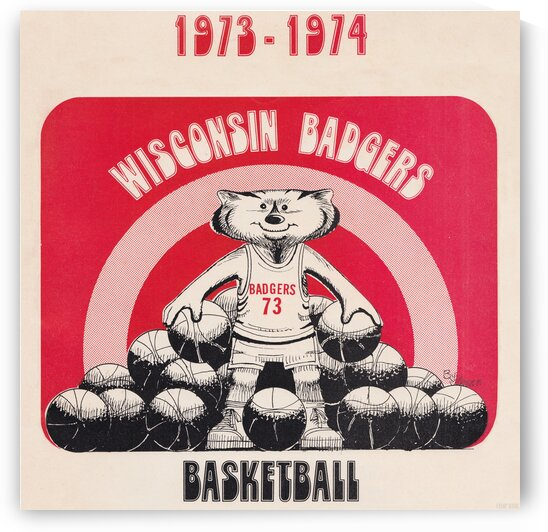 1973 Wisconsin Badgers Basketball Art Metal Sign by Row One Brand