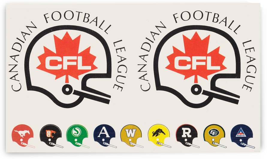 1976 CFL Football Helmets Art Poster by Row One Brand