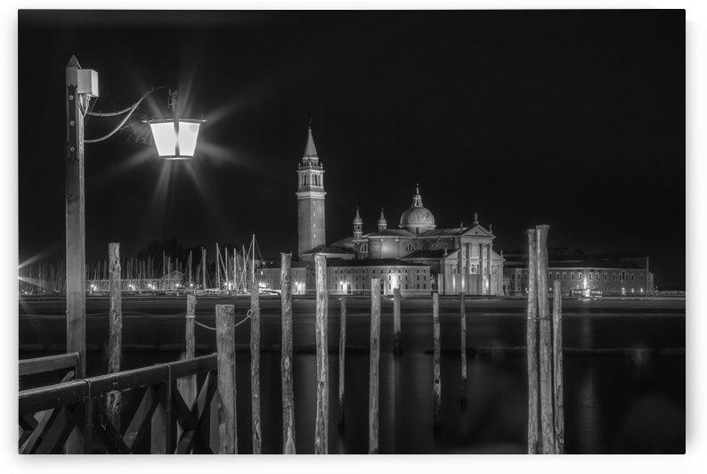 VENICE San Giorgio Maggiore at Night black and white by Melanie Viola