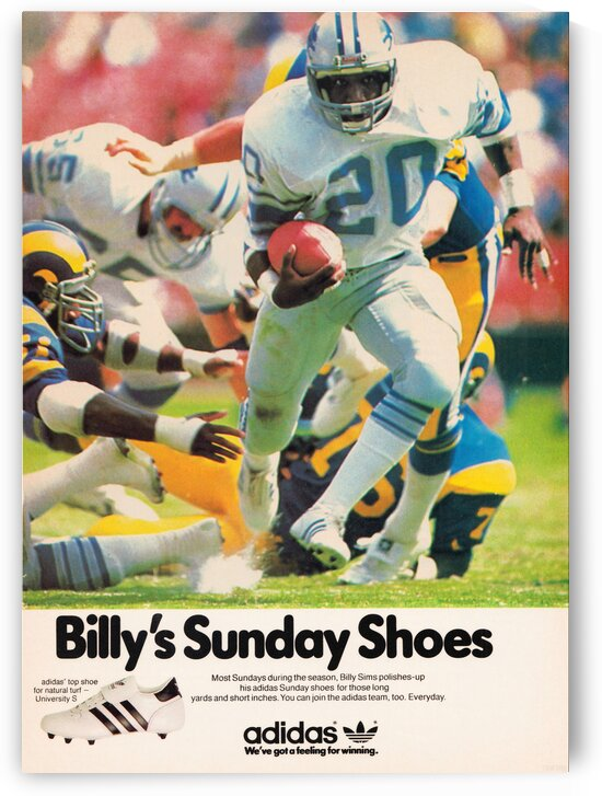 1981 Billy Sims Adidas Football Shoes Ad Poster by Row One Brand