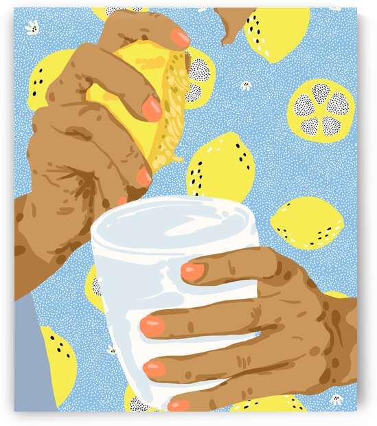 Squeeze The Day Juicy Lemon Summer Illustration Quirky Hands Fruit Eclectic Concept Painting by 83 Oranges