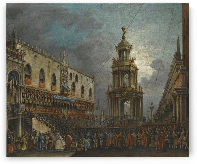 A view of the Piazzetta at Carnival, Venice by Francesco Zanin