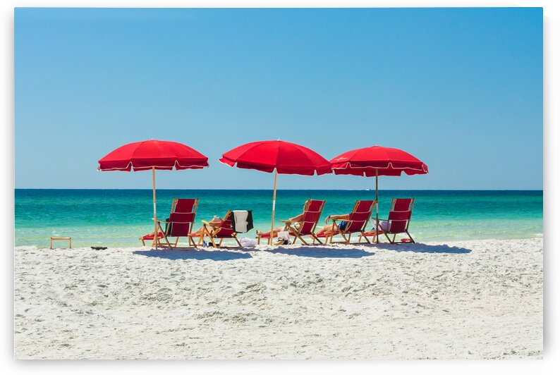 Red Beach Umbrellas by bj clayden photography