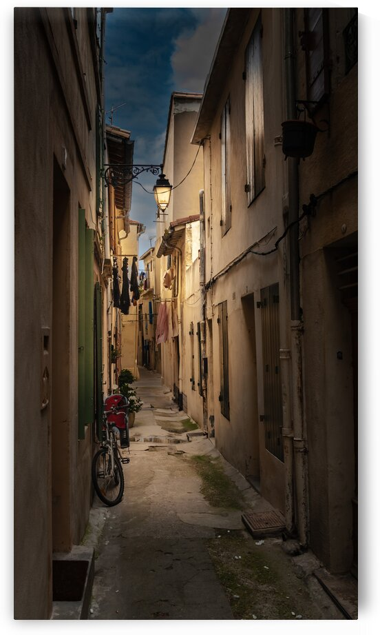 Narrow Provencal Street in Evening with a Bicycle by bj clayden photography