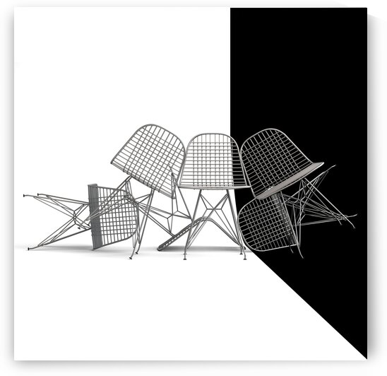 Wire Chair Black and White by Wagner Hardt