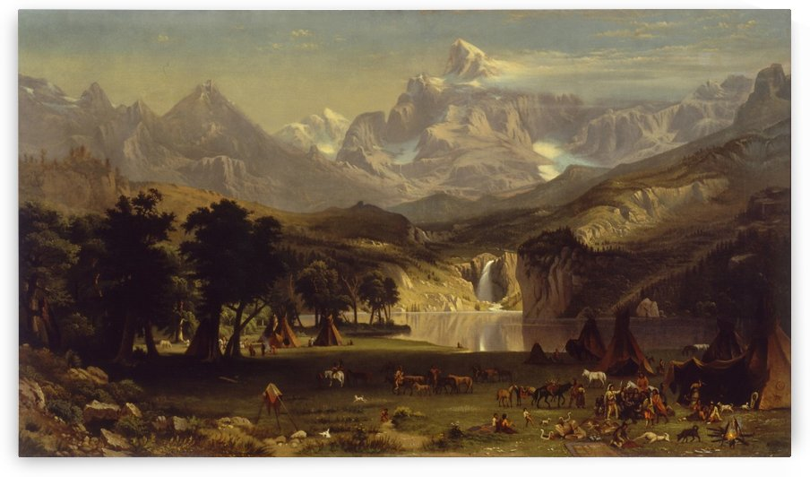 The Rocky Mountains, Lander Peak with Indian figures by Albert Bierstadt