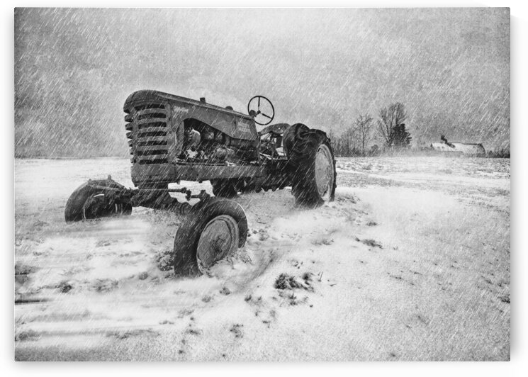 Winter Snow  Mountain Farm And Old Tractor by Bob Orsillo