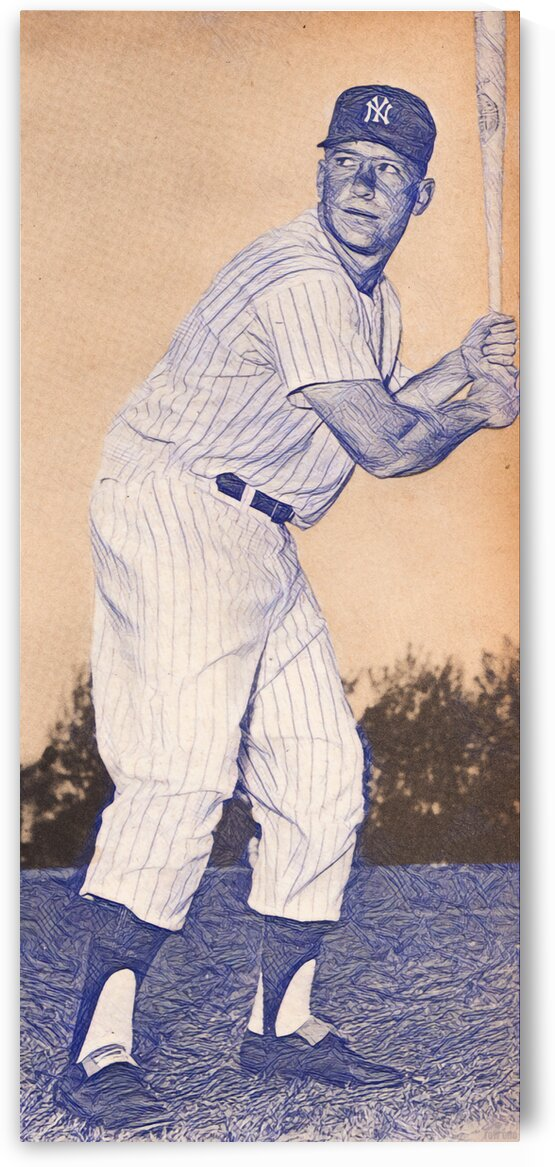 1956 Mickey Mantle Sketch Art by Row One Brand