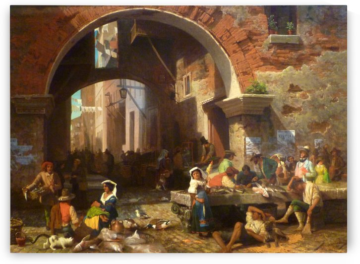 The Arch of Octavius with a fish market and figures by Albert Bierstadt
