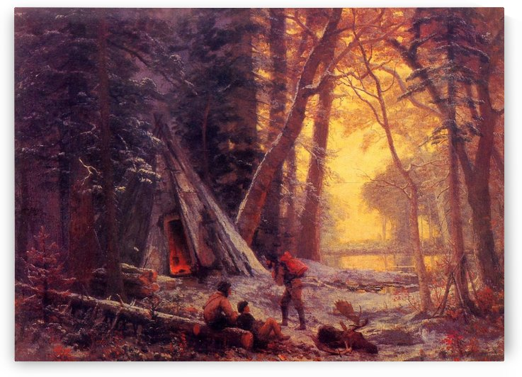 Moose hunters camp by Albert Bierstadt