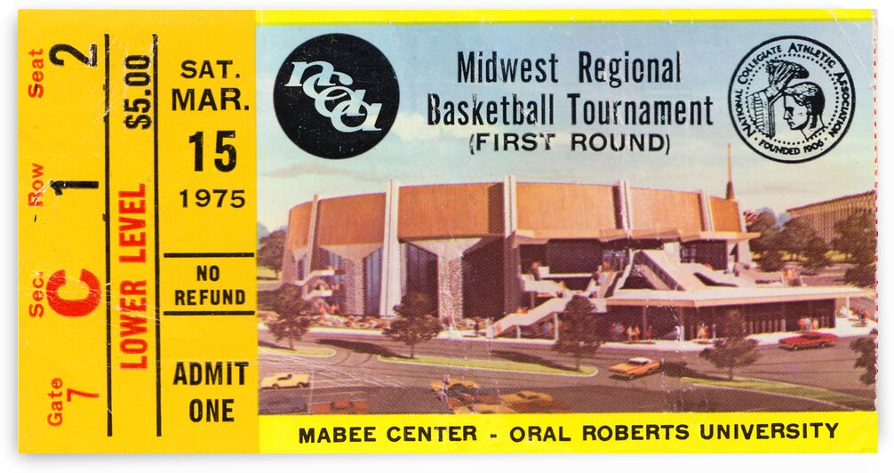 1975 Oral Roberts Midwest Regional Basketball Ticket Canvas by Row One Brand