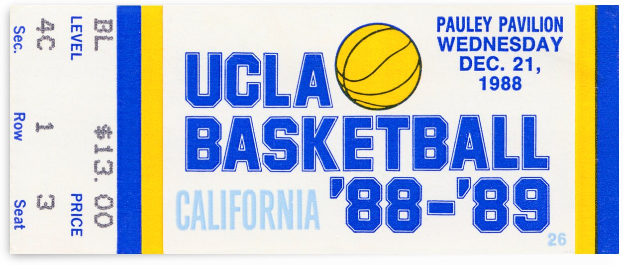 1988 UCLA Bruins Basketball Ticket Canvas by Row One Brand