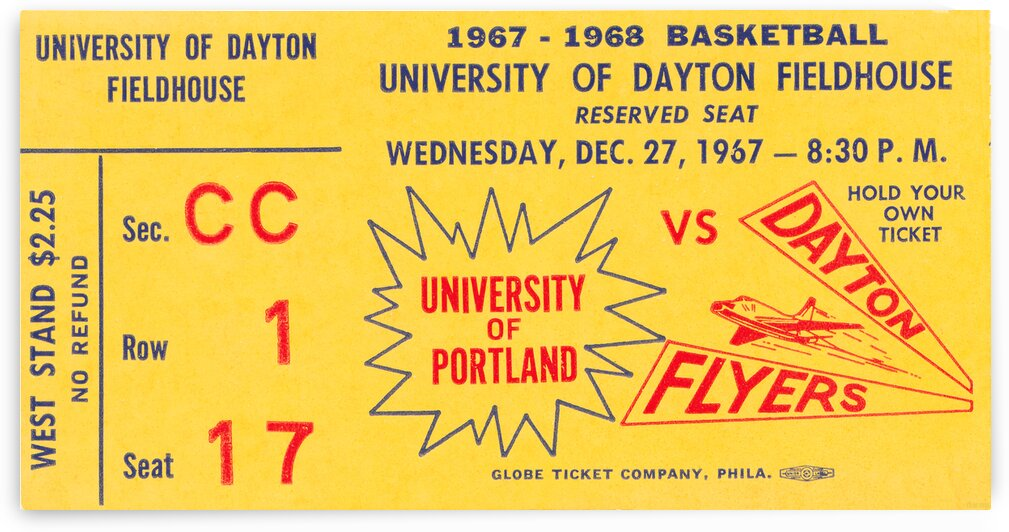 1967 Dayton Flyers Basketball Ticket Canvas by Row One Brand
