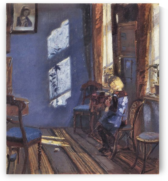 Sunshine in the blue room by Anna Ancher by Anna Ancher