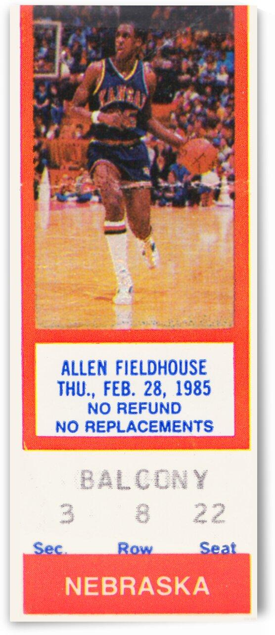 1985 Kansas Jayhawks vs. Nebraska Cornhuskers Basketball Ticket Art by Row One Brand