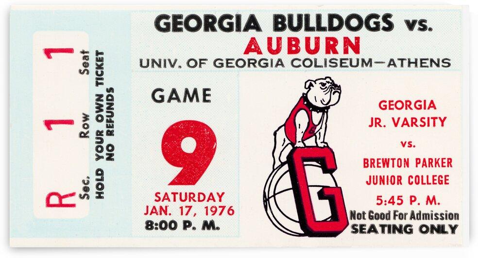 1976 Georgia Bulldogs vs. Auburn Tigers Basketball Ticket Art by Row One Brand