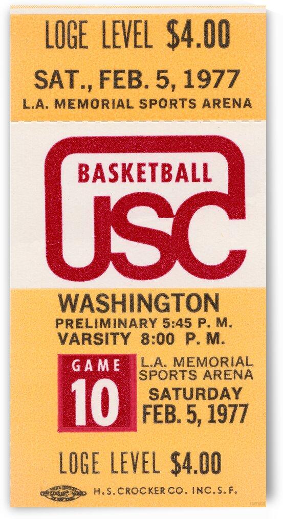 1977 USC vs. Washington Basketball Ticket Canvas by Row One Brand