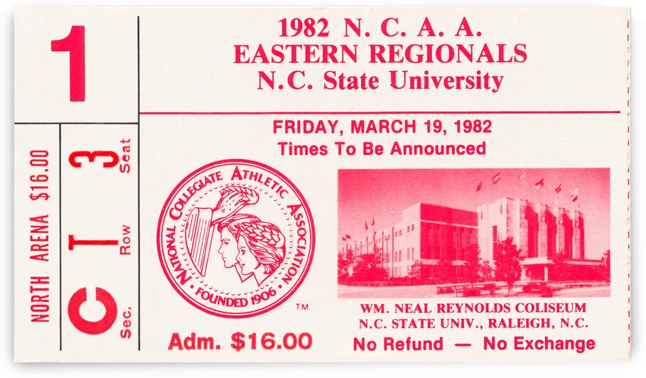 1982 UNC vs. Alabama NCAA Eastern Regional Basketball  Ticket Canvas by Row One Brand