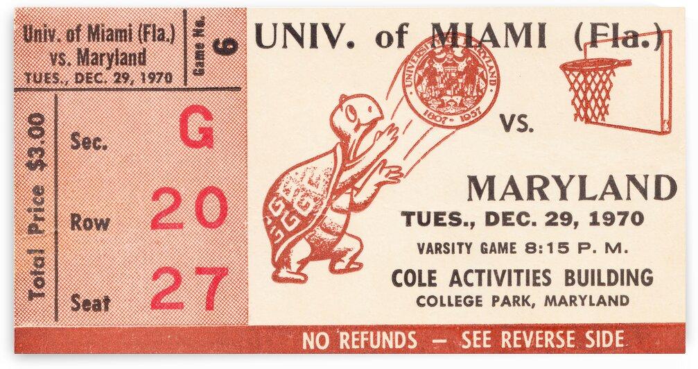 1970 Maryland vs. Miami Basketball Ticket Stub Canvas by Row One Brand