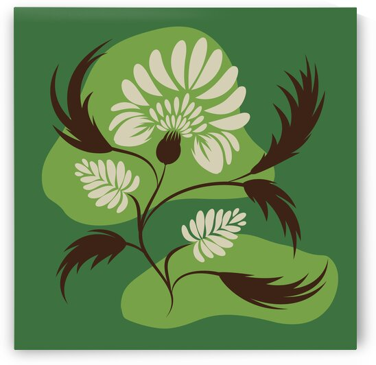 Flowers print poster. Folk floral art. Canvas. by Eskimos