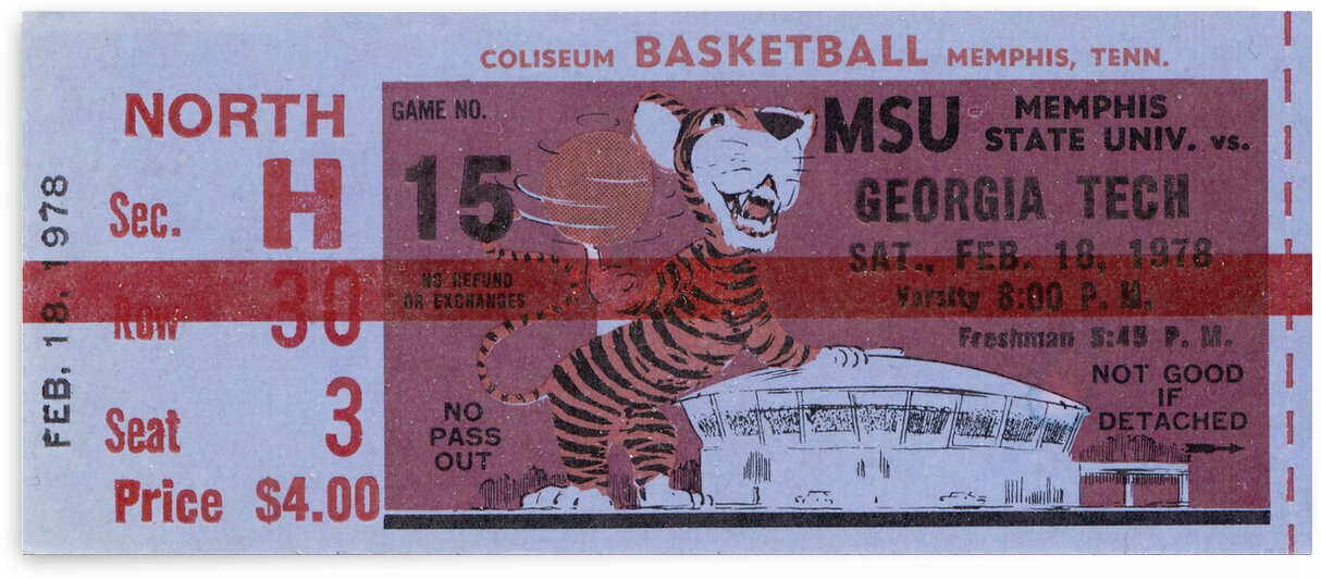 1978 Memphis Tigers Basketball Ticket Stub  Canvas by Row One Brand