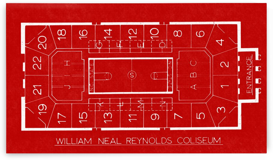 1982 William Neal Reynolds Coliseum NC State Map Art by Row One Brand
