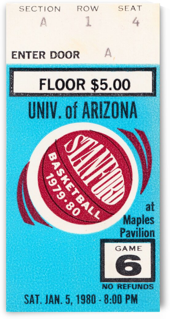 1980 Arizona vs. Stanford Basketball Ticket Poster by Row One Brand