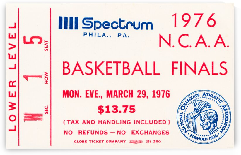 1976 Indiana Hoosiers NCAA Finals Basketball Ticket Stub Canvas by Row One Brand