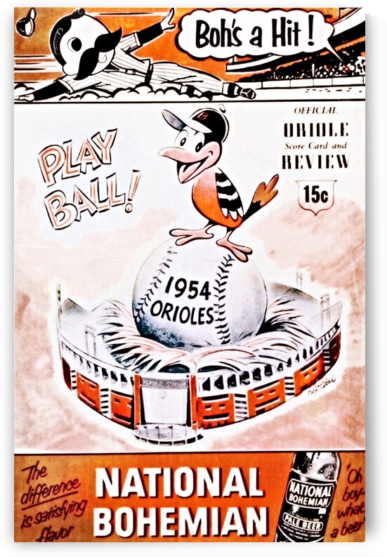1954 Orioles Score Card Art by Row One Brand