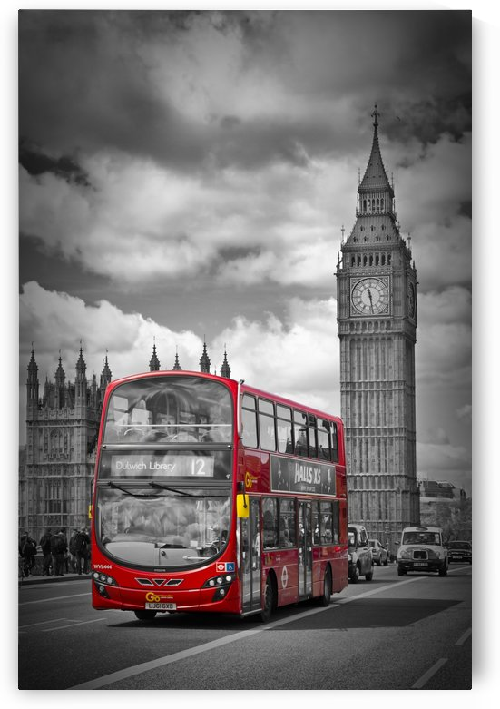 LONDON Houses of Parliament and Red Bus by Melanie Viola