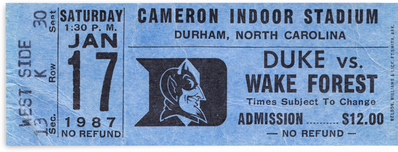 1987 Duke Basketball Ticket Stub Canvas by Row One Brand
