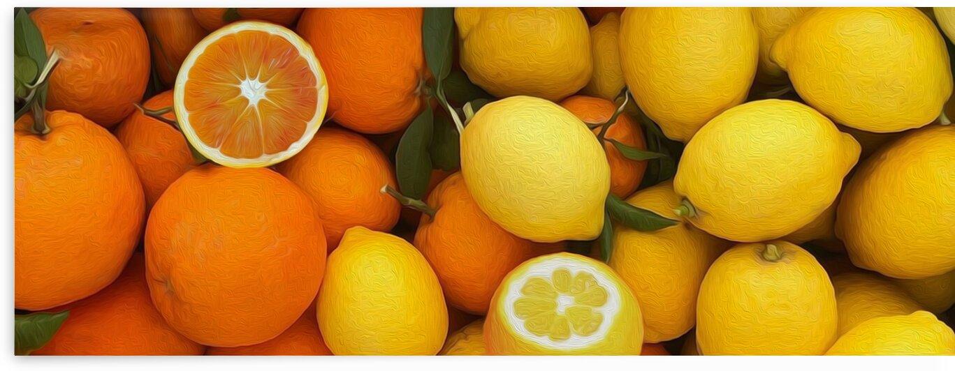 Background from ripe oranges and lemons by Ievgeniia Bidiuk