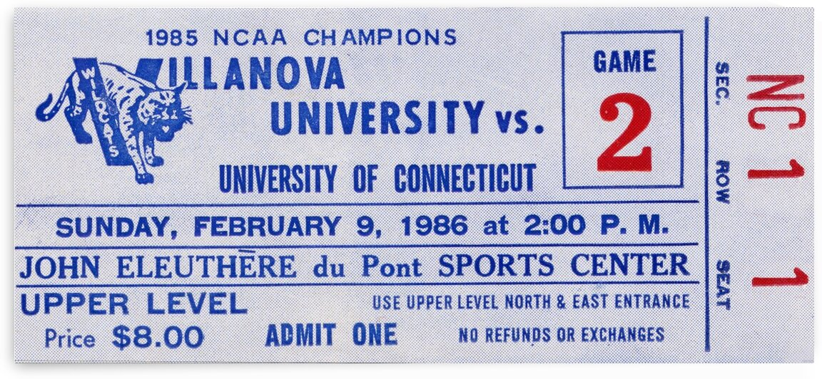 1986 Villanova vs. Connecticut Basketball Ticket Canvas by Row One Brand