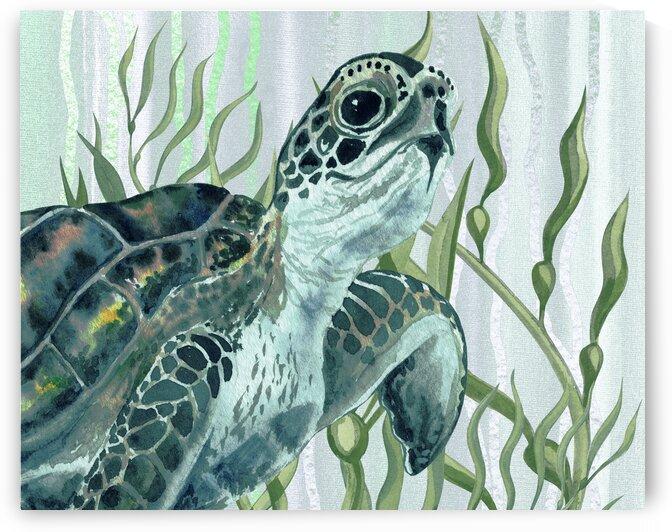 Watercolor Giant Turtle In The Seaweed Under Water I by Irina Sztukowski